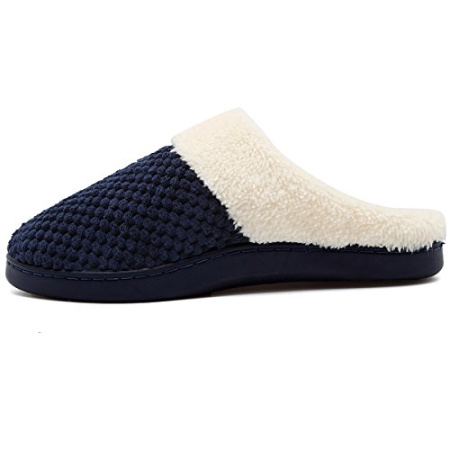 VIFUUR Womens Winter Slippers Short Plush Lining Memory Foam Anti-Skid Sole House Shoes Indoor Outdoor Blue CPnJKe6pX5