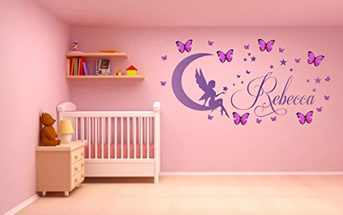 Fairy Personalized Wall Art (Personalized name, Fairy with pink/blue 3D butterflies. Vinyl Wall Art Sticker, Mural, Decal. Home, Wall Decor, Children's bedroom, Nursery, Playroom. Moon & Stars)
