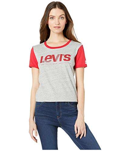 (Levi's Women's Graphic Surf Tee Shirt, Logo red Ringer Smokestack Heather, XX-Large)