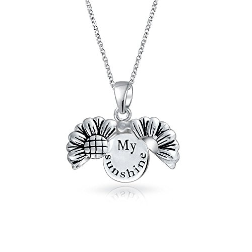 My Sunshine Word Opening Sunflower Shape Locket Pendant Necklace For Teen For Girlfriend 925 Sterling Silver