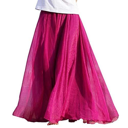 Women Elastic Waist Chiffon Elegant Classy Flowy Long Maxi Beach Skirt Dress Hot Pink
