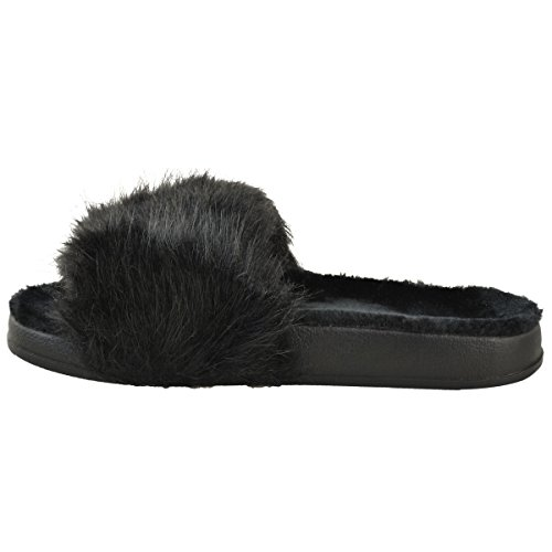 Thirsty Platform Fur Fashion Size Fur Sandals Flip Womens Faux Black Slider Flat Flop Faux 4qww1Fd