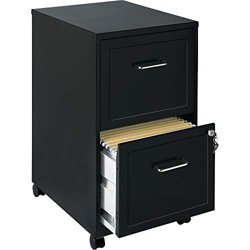 Lorell SOHO Mobile 2 Drawer File Cabinet in Black