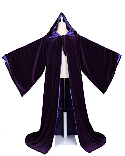 LuckyMjmy Velvet Wizard Robe with Satin Lined Hood and Sleeves (Purple) ()