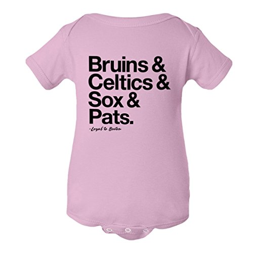 PleaseMeTees Baby Jumpsuit Loyal Bruins Celtics Red Sox Patriots 1-Pc Pink-12M by PleaseMeTees