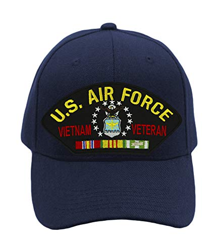 Patchtown US Air Force Vietnam Veteran Hat/Ballcap Adjustable-Back One Size Fits Most (Navy Blue, W/Flag)
