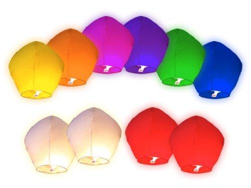 Alsino 20 Stück Himmelslaternen Himmelsballon Skylaternen Gemischte Farben 80 cm hoch, Hochzeit, Garten & Geburtstag