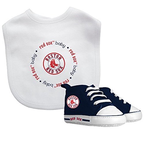 Baby Fanatic - MLB Velcro Closure Bib and High Top Pre-Walker Set, Boston Red - Red Gift Boston Sox Bag