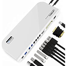 Docking Station, BESTHING USB 3.0 Universal Laptop Docking Station Dual Display with HDMI & DVI / VGA, Gigabit Ethernet, Audio, 6 USB Ports for Laptop, Ultrabook and PCs (White)