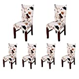 SoulFeel Stretch Spandex Dining Room Chair Protector Slipcovers, Set of 6 (Style 47, Coffee Time)