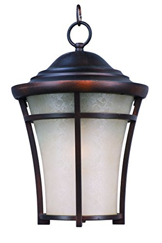 Maxim 85509LACO Balboa DC EE 1-Light Large Outdoor Hanging, Copper Oxide Finish, Lace Glass, GU24 Fluorescent Fluorescent Bulb , 60W Max., Wet Safety Rating, Standard Dimmable, Glass Shade Material, 1800 (Fluorescent Chandelier)