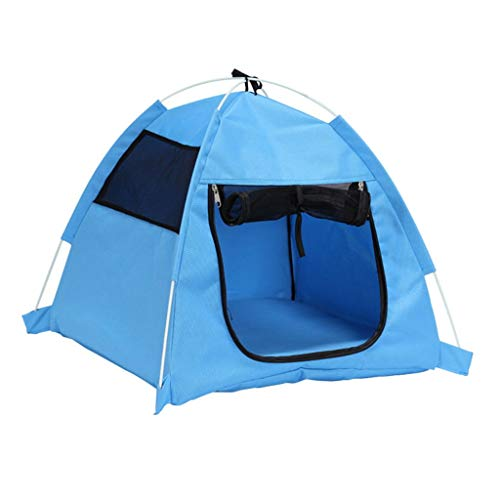 Houses & Habitats Triangle Cat Litter Closed Breathable Tent Summer Cool Doghouse Washable Small Dog Tent Outdoor Pet Travel Tent Multi-purpose Household Pet House ( Color : Blue , Size : 555548cm )