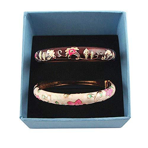 - UJOY Designer Womens Couple Bangles Golden Enamel Flower Bracelets Jewelry Box for Women Girls Gift 55B20 Cream White