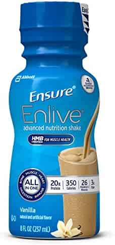 Ensure Enlive Advanced Nutrition Shake with 20 grams of high-quality protein, Meal Replacement Shakes, Vanilla, 8 fl oz (4 Count)