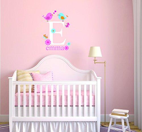 - Custom Name & Initial Flowers Birds Butterflies Animal Series Baby Girl Wall Decal Nursery For Home Bedroom Children (989) (Wide 26
