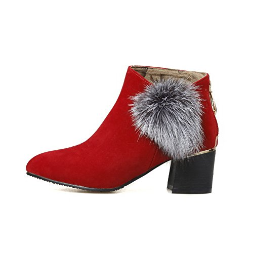 Low Boots Kitten Women's top AgooLar Toe Heels Closed Pointed Solid Zipper Red qfZ5axCwv
