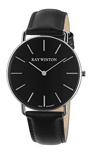 Mens Black Dial Strap Watch - Ray Winton Men's Analog Black Dial Black Leather Strap Watch