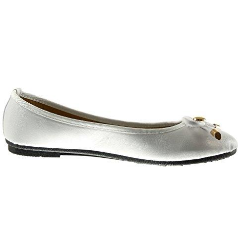 Angkorly - Chaussure Mode Ballerine slip-on femme noeud métallique Talon plat 1 CM - Blanc