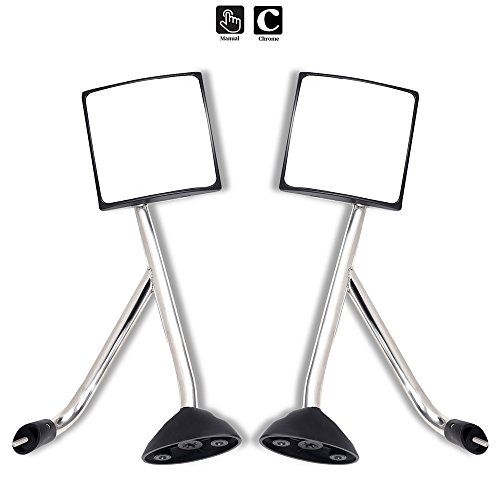 SCITOO Towing Mirrors Driver and Passenger LH+RH Side Replacement Glass Chrome Hood Manual Mirror Pair Set fit 2002-2017 International Truck