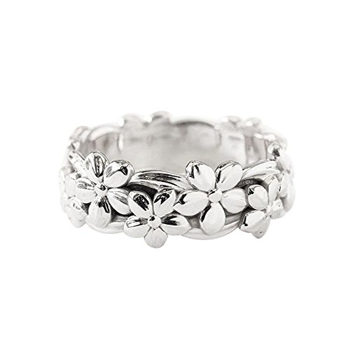 (Haluoo 925 Sterling Silver Ring, Retro Daisy Summer Flower Engagement Ring Plum Blossom Eternity Wedding Band Finger Rings Size 5-10 (6, Silver))