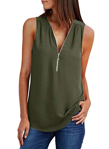 ZKESS Womens Casual Sleeveless V Neck Cuffed Pleated Zip Up Blouse Shirts Green M 8 10 ()