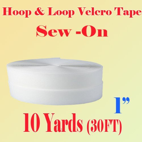 """1"""" (Inche) Width Black or White Sew on Hook & Loop - Premium Grade Non-adhesive Sew-on Style Sold Includes Hook and Loop Both Strips Interlocking Tape Sold By 5, 10, 27 Yards (White - 10 yards)"""
