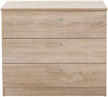 Keinode Chest of Drawers 3 Large Drawers Storage Cabinet Wooden Finish Plastic Silver Handles Lockers for Bedroom Living Room Hallway Bathroom Kitchen Office Wood Color