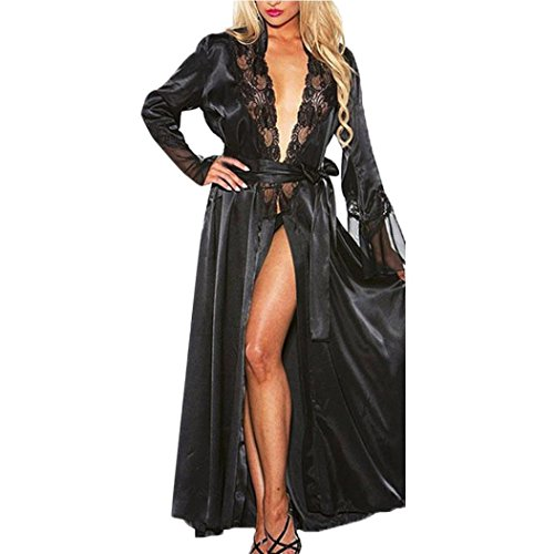 Challyhope Women Sexy Long Silk Lace Kimono Night Gown Babydoll Lingerie Bath Robe Nightwear (XXL, ()