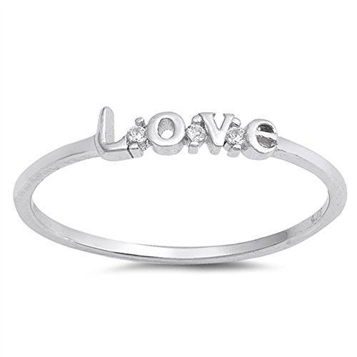 White CZ Promise Love Script Ring New Gift .925 Sterling Silver Band Sizes 3-10