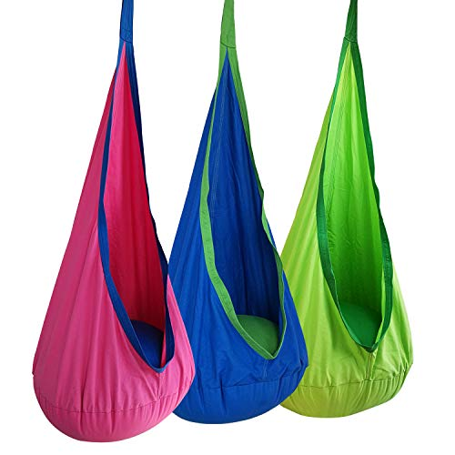 BHORMS Kids Pod Swing Seat Hammock 100% Cotton Child Hammock Chair for Indoor Outdoor Hanging Seat Hammock All Accessories Included-Fushcia Color