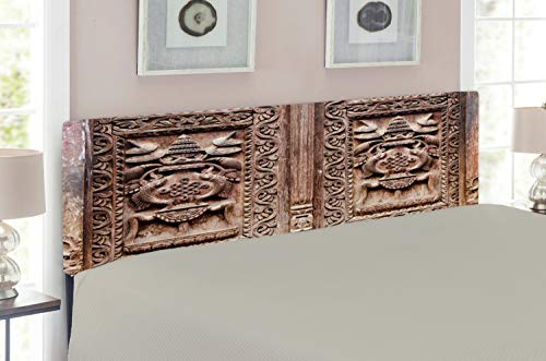 Lunarable Rustic Headboard for King Size Bed, Wooden Carved Door Image Detailed Kathmandu Artful Sculpture Cultural Ethnic Facade Print, Upholstered Decorative Metal Headboard with Memory Foam, Brown (Carved Beds Wooden)