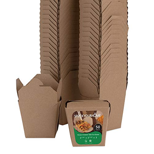 To Go Boxes (Take Out Food Containers 16 Oz Microwaveable Kraft Brown Paper Chinese Takeout Box (50 Pack) Leak and Grease Resistant Stackable Pint Size to Go Boxes - Recyclable Food Containers -)
