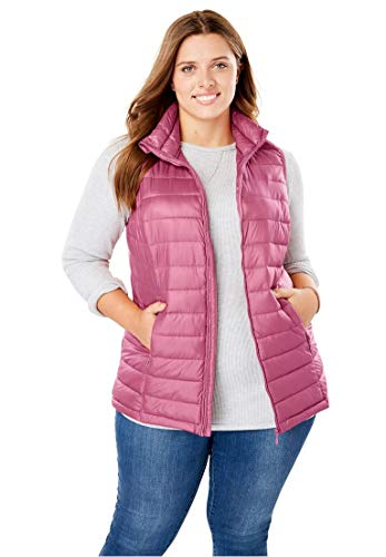 Woman Within Women's Plus Size Packable Puffer Vest by Woman Within