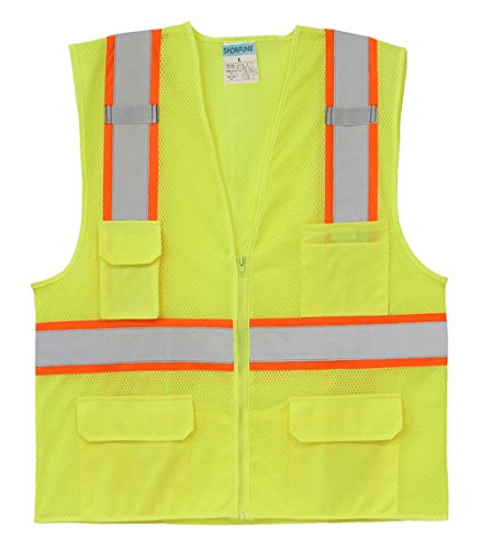 SHORFUNE High Visibility Reflective Safety Vest with Pockets and Zipper, Breathable Mesh, Neon Yellow, L