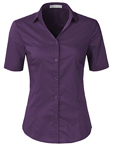 (H2H Womens Slim Fit Formal Short Sleeve Button Down Dress Shirt Blouse Top Plum M)