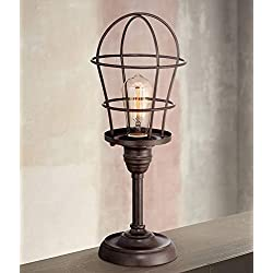 Modern Industrial Desk Table Lamp 17 1/4 High Bronze Wire Cage Edison Bulb for Bedroom Bedside Office - Franklin Iron Works