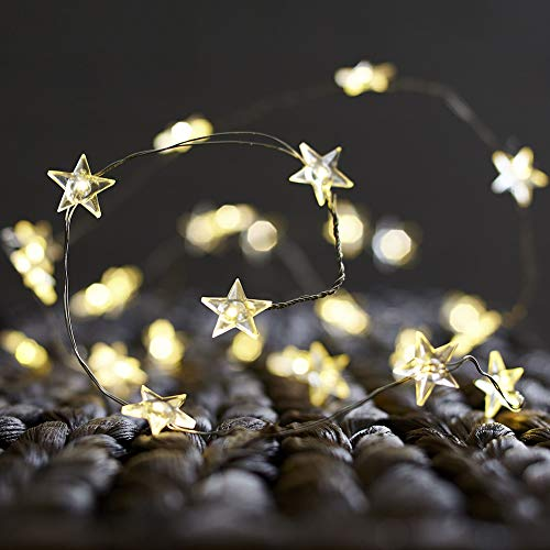 - BOHON Decorative Lights, Star String Lights 40 LEDs 10 ft Fairy Lights Battery Operated for Kids Bedroom Valentine's Day Wedding Indoor Party Decor with Remote & Timer
