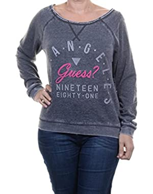 Guess Women's Three-Quarter-Sleeve Boat-Neck Sweatshirt