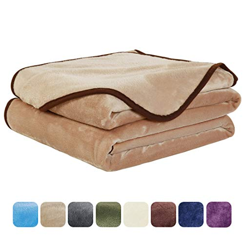 (EASELAND Soft Twin Size Summer Blanket All Season Warm Fuzzy Microplush Lightweight Thermal Fleece Blankets for Couch Bed Sofa,66x90 Inches,Camel)