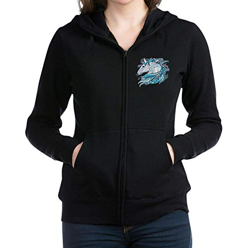 - Royal Lion Women's Zip Hoodie (Dark) Maverick Patterned Horse - Black, Medium