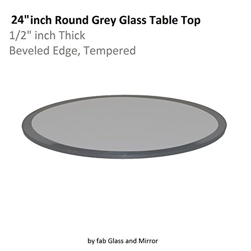 "Glass Table Top Round 1/2"" Thick Beveled Tempered, 24"" L ..."