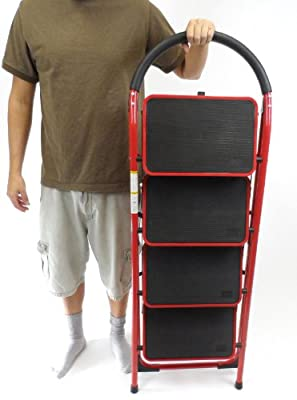 Rv Windshield Ladder Jumbo 4 Step Stool XL Steps Heavy Duty Motorhome Ladder, 4 Steps