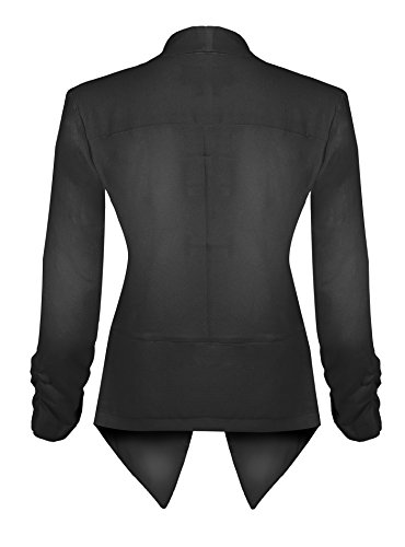 HOT FROM HOLLYWOOD Women's Classic Stretchy Cardigan Blazer with Curved Hemline and Shirring 3/4 Sleeves by HOT FROM HOLLYWOOD (Image #2)