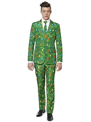 Suitmeister Christmas Suits in Different Prints- Includes Jacket, Pants & Tie, Christmas Green Tree, Medium