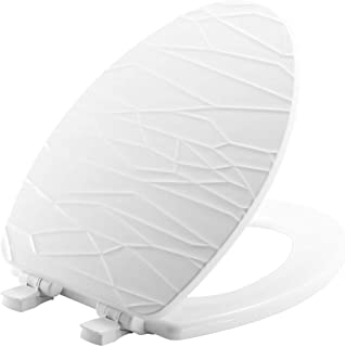 product image for MAYFAIR 137SLOW 000 Sculptured Modern Geometric Toilet Seat will Slow Close and Never Loosen, ELONGATED, Durable Enameled Wood, White