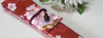 扇子入れ 赤×小花柄 お箸袋にも! 扇子ケース 扇子袋 お箸袋 お箸入れ 和小物 和風小物 和雑貨 和柄
