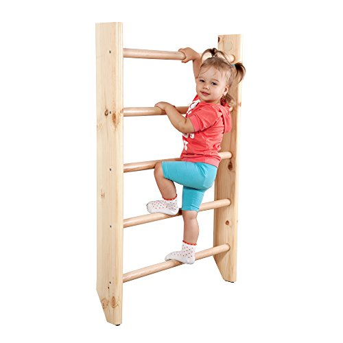 """Wall Bars for Kids, Wood Stall Bar, Wooden Swedish Ladder,""""Kinder 4"""" CERTIFICATE OF SAFE USE Home Gym Gymnastic, Climbing Kids, Indoor Children Playground 87""""x31.5"""
