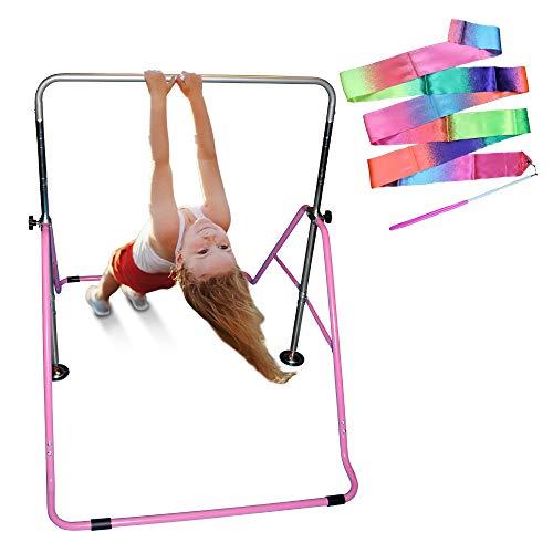 Fun Home Gymnastics Equipment for Kids - Gymnastics Bar is Foldable and has Adjustable Height - Gymnastics Bar Set is great indoor & outdoor - Kids Gymnastics Bars - Excellent Gymnastic Bars for Home