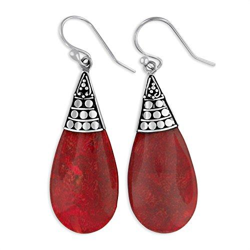 Argent sterling Rouge éponge Corail en forme de larme en filigrane Boucles d'oreilles en forme