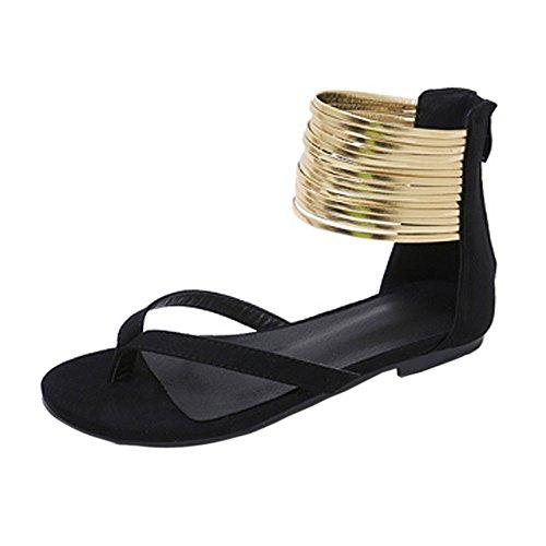 Xinantime Women's Flat Sandal Suede Open Toe Shoes with Back Zipper Wedding Dress Party Women Shoes Black